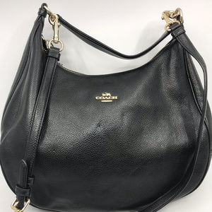 COACH Black Grain Leather Crossbody Bag